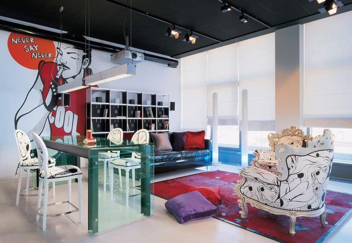 вариант красивого декора дома в стиле поп арт