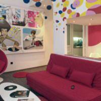 пример красивого дизайна комнаты в стиле поп арт фото