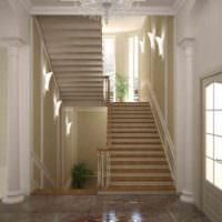 вариант светлого интерьера лестницы картинка