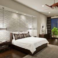 идея яркого украшения дизайна стен в спальне картинка
