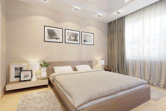 идея необычного оформления декора стен в спальне