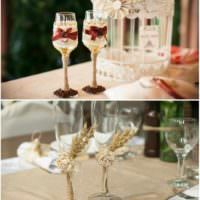 пример светлого украшения декора свадебных бокалов картинка