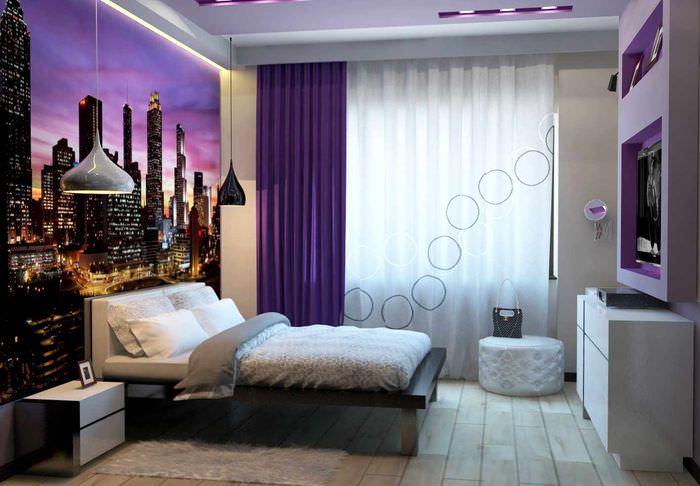 пример красивого украшения дизайна стен в спальне