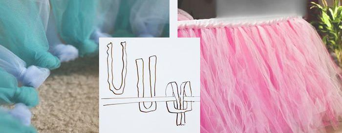 Оформление края свадебного стола с помощью полосок ткани