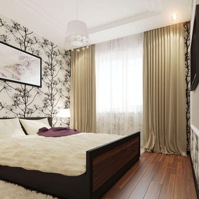 Кровать на платформе в интерьере спальни площадью в 12 кв м