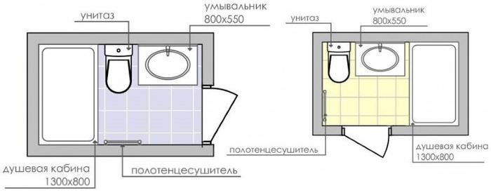 Схемы планировки совмещенного санузла с ванной вдоль короткой стены