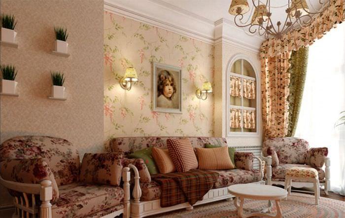 Оформление обоями стены над диваном