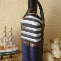 Декор бутылки коньяка в виде тельняшки