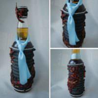 Оформление бутылки лентами для мужчины