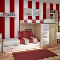 Двухэтажная кровать в интерьере детской комнаты
