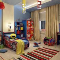 Кровать-машина в детской комнате для мальчика