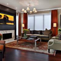 Современная гостиная с прямыми шторами