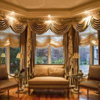 Подсветка над шторами в гостиной
