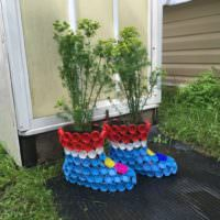 Цветочные горшки из пластиковых пробок