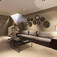 Круглые зеркала в дизайне гостиной