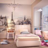 Французская тема в оформлении стен спальни