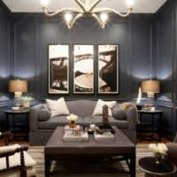 Темные цвета краски в дизайне стен гостиной