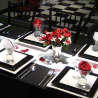 Оформление свадебного стола в черном и белом цвете