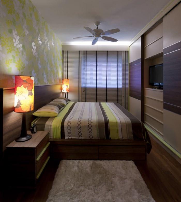 Светильники на прикроватных тумбах в спальне 12 кв метров