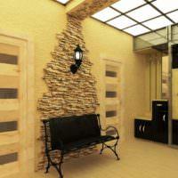 Декор стены в прихожей искусственным камнем