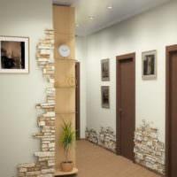 Декорирование светлой прихожей плитками природного камня