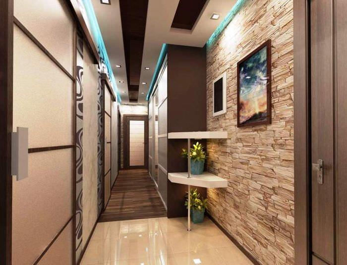 Фото отделки стены в прихожей декоративным камнем