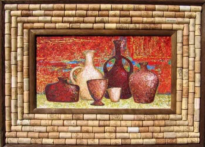 Картина для кухни из винных пробок