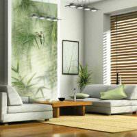 Панно с растениями в интерьере гостиной