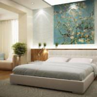 Панно с ветками над изголовьем кровати