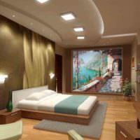 Интерьер спальни с декором в виде панно