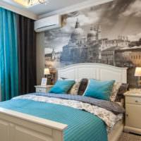 Панно из фотообоев в интерьере спальни