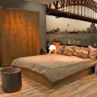 Панно в спальне, выполненной в индустриальном стиле