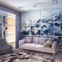 Интерьер гостиной с дизайнерским панно