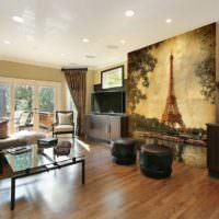 Панно во всю стену в дизайне гостиной