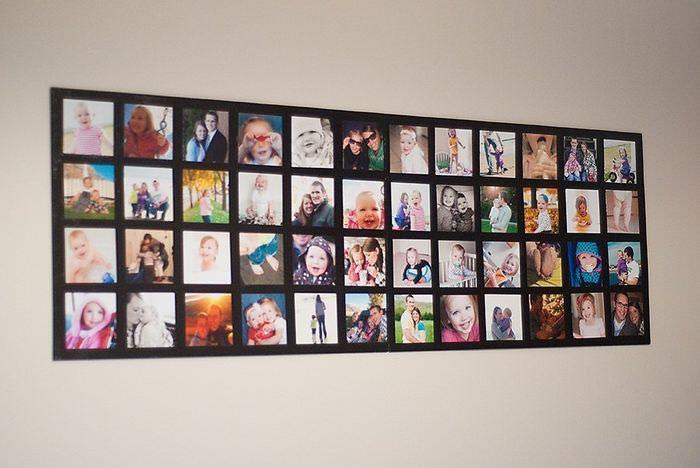 Панно своими руками из фотографий на стене гостиной