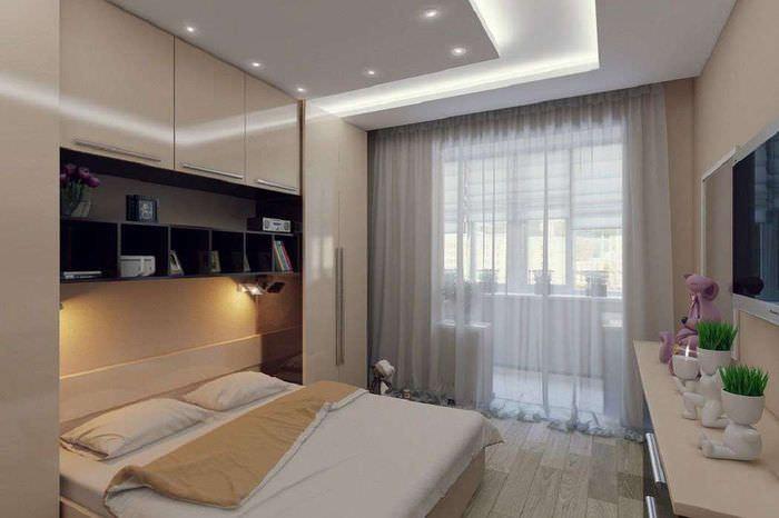 Двухуровневый потолок в спальне 12 квадратных метров