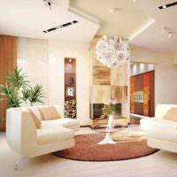 пример светлого интерьера проходной гостиной картинка