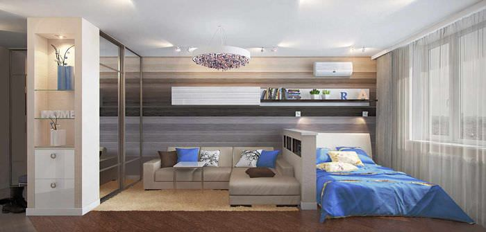 пример красивого стиля спальни 20 метров