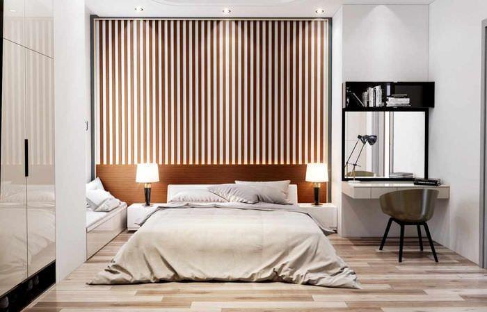 вариант красивого дизайна изголовья кровати