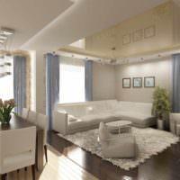 пример светлого интерьера потолка кухни фото