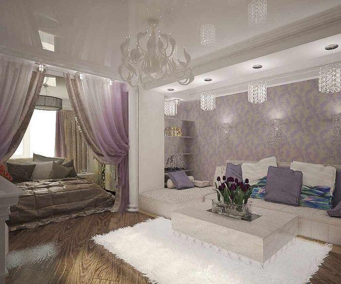 вариант необычного стиля спальни 20 метров