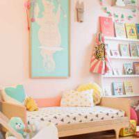 пример светлого стиля спальни для девочки фото