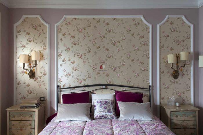 вариант необычного украшения стиля стен в спальне