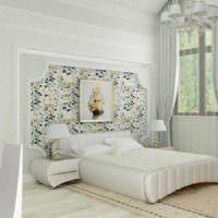 вариант светлого проекта интерьера спальной комнаты картинка