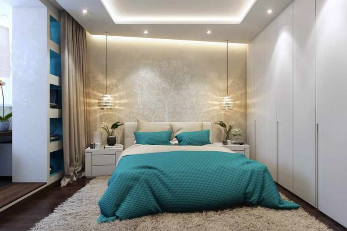 вариант светлого проекта дизайна спальни