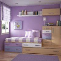пример яркого стиля спальной комнаты фото