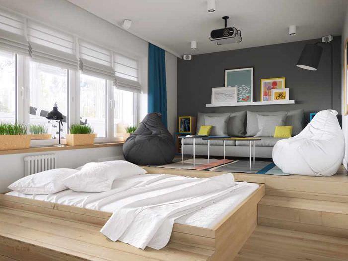 пример необычного стиля гостиной спальни 20 метров
