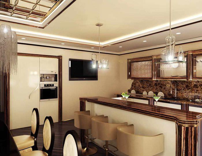пример красивого стиля потолка кухни