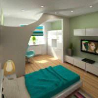 пример яркого интерьера гостиной спальни 20 метров фото
