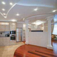 пример красивого дизайна потолка кухни картинка